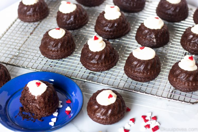Mini Chocolate Bundt Cake with Cream Cheese Frosting